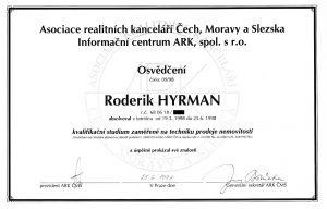 Roderik Hyrman - realitni makler - umimereality.cz - Osvedceni odborne zpusobilosti